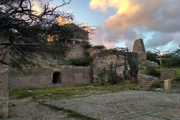 The Balashi Gold Mill ruins in the setting Aruban sun